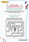 Maze puzzle: giving directions worksheet