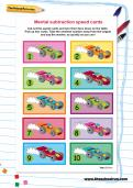 Mental subtraction speed cards