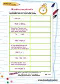 Mixed-up mental maths worksheet