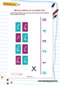 Mixed numbers on a number line worksheet