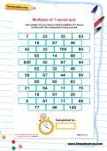 Multiples of 7 speed quiz worksheet