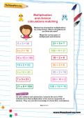 Multiplication and division calculations matching worksheet