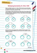 Multiplying decimals by 10, 100 and 1000 worksheet