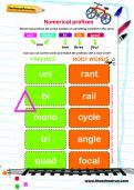 Spelling patterns: numerical prefixes worksheet