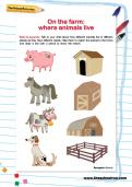 On the farm: where animals live worksheet