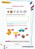 Ordering coin values worksheet
