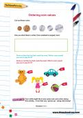 Ordering coin values worksheet