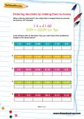 Ordering decimals by relating them to money worksheet