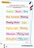 Ordering numbers in words worksheet