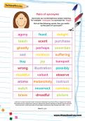 Pairs of synonyms worksheet
