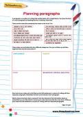 Planning paragraphs worksheet