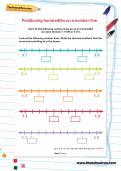 Positioning hundredths on a number line worksheet