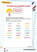 Practise two-syllable words worksheet
