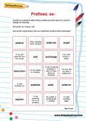 Spelling patterns: the prefix ex- worksheet