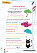 Prepositional phrases worksheet