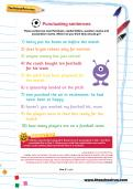 Punctuating sentences football worksheet