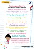 Punctuating speech practice football worksheet