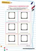Putting names in alphabetical order worksheet
