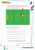 Quarter, half and three-quarter turns football worksheet