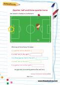 Quarter, half and three-quarter turns football worksheet