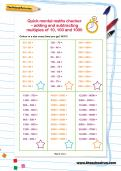 Adding and subtracting multiples of 10, 100 and 1000 worksheet