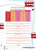 Reading a bus timetable worksheet