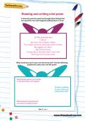 Reading and writing a list poem worksheet