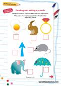 Reading and writing e, u and r worksheet
