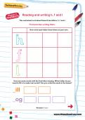 Reading and writing h, f and l worksheet