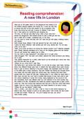 Reading comprehension: A new life in London worksheet