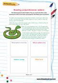 Reading comprehension: adders worksheet