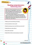 Reading comprehension: Swimming class worksheet