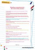 Reading comprehension: the cruel child