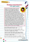 Reading comprehension: The night watch worksheet