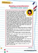 Reading comprehension: Visit from outer space worksheet