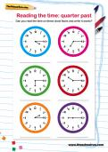 Reading the time: quarter past worksheet