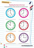 Reading time to the hour worksheet