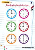 Reading the time to the hour worksheet