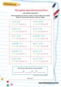 Recognise equivalent proportions worksheet