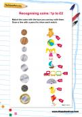 Recognising coins: 1p to £2 worksheet