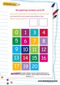 Recognising numbers up to 20 worksheet