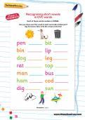 Recognising short vowels in CVC words worksheet