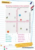 Recording coordinates on four quadrants worksheet