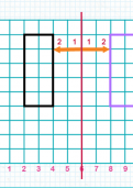 Reflecting shapes in a vertical mirror line on a co-ordinates grid tutorial