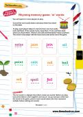 Rhyming memory game: oi words