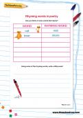 Rhyming words in poetry worksheet