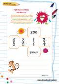 Roll the word die sentences worksheet