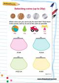 Selecting coins (up to 20p) worksheet