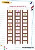 Sequencing numbers 1 to 10 worksheet