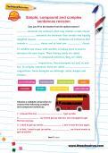 Simple, compound and complex sentences revision worksheet